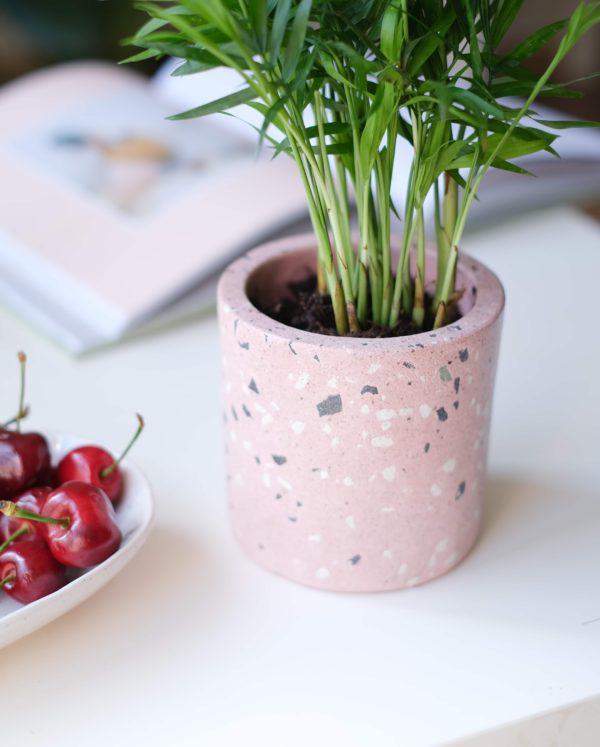 pembe terrazzo saksı planter